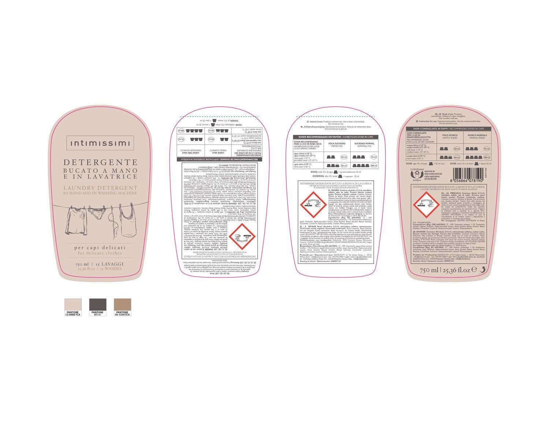 labelling design esecutivi Intimissimi detergente bucato sviluppate da Willbe