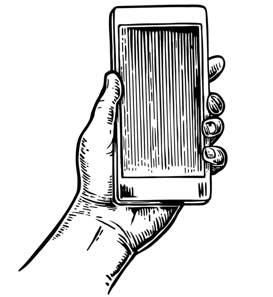 Illustrazione incisione vettoriale di uno smartphone in una mano utilizzata sul sito Willbe nei servizi di digital experience