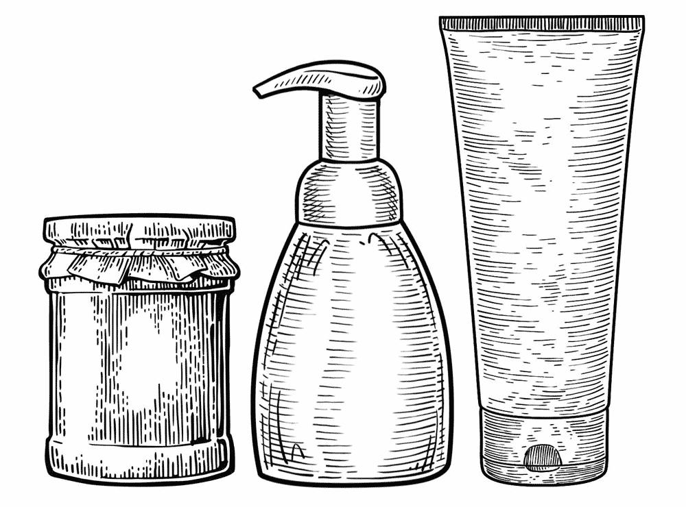 Illustrazione incisione vettoriale di barattolo, flacone e tubo utilizzata sul sito Willbe nei servizi di Packaging design
