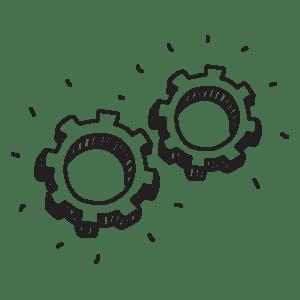 Illustrazione di due ingranaggi a indicare la fase di perfezionamento del design nel sito WillBe