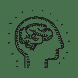 Illustrazione di un uomo con cervello a indicare la fase di pianificazione e ideazione dei concept creativi nel sito WillBe