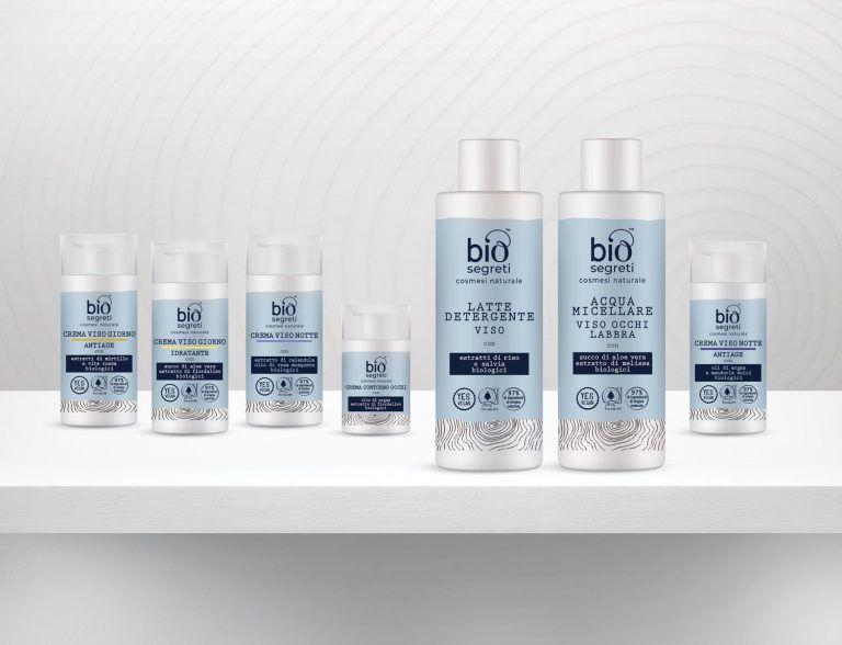 Packaging design di prodotti cosmetici naturali per la cura del viso destinati alla GDO realizzato da WillBe