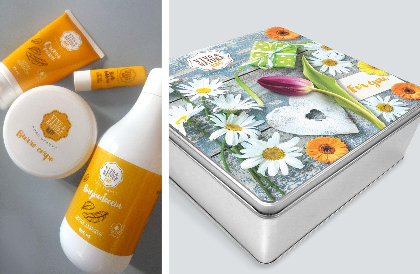 WillBe packaging design cosmesi idee regalo Vivo di Natura scatola soffice abbraccio