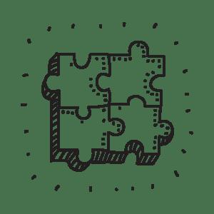 Illustrazione a mano di un puzzle a indicare la fase di estensioni e adattamenti del design nel sito di WillBe