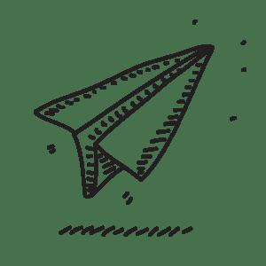 Illustrazione a mano di un aeroplanino di carta a indicare la fase di rilascio del servizio nel sito di WillBe