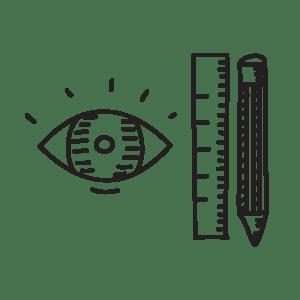 Illustrazione di un occhio, una matita e un righello a indicare la fase di creazione del design nel sito WillBe