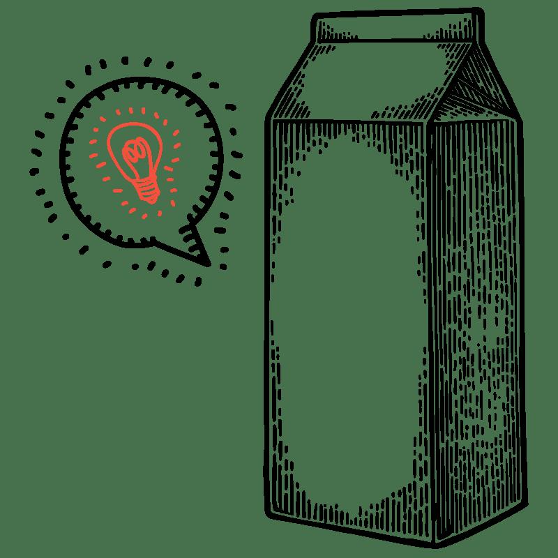 Illustrazione a mano di un imballaggio ad indicare il servizio di packaging e label design nel sito di WillBe