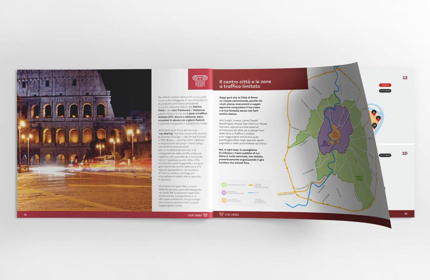 Design di brochure turistica cartacea con mappa della città realizzata da WillBe