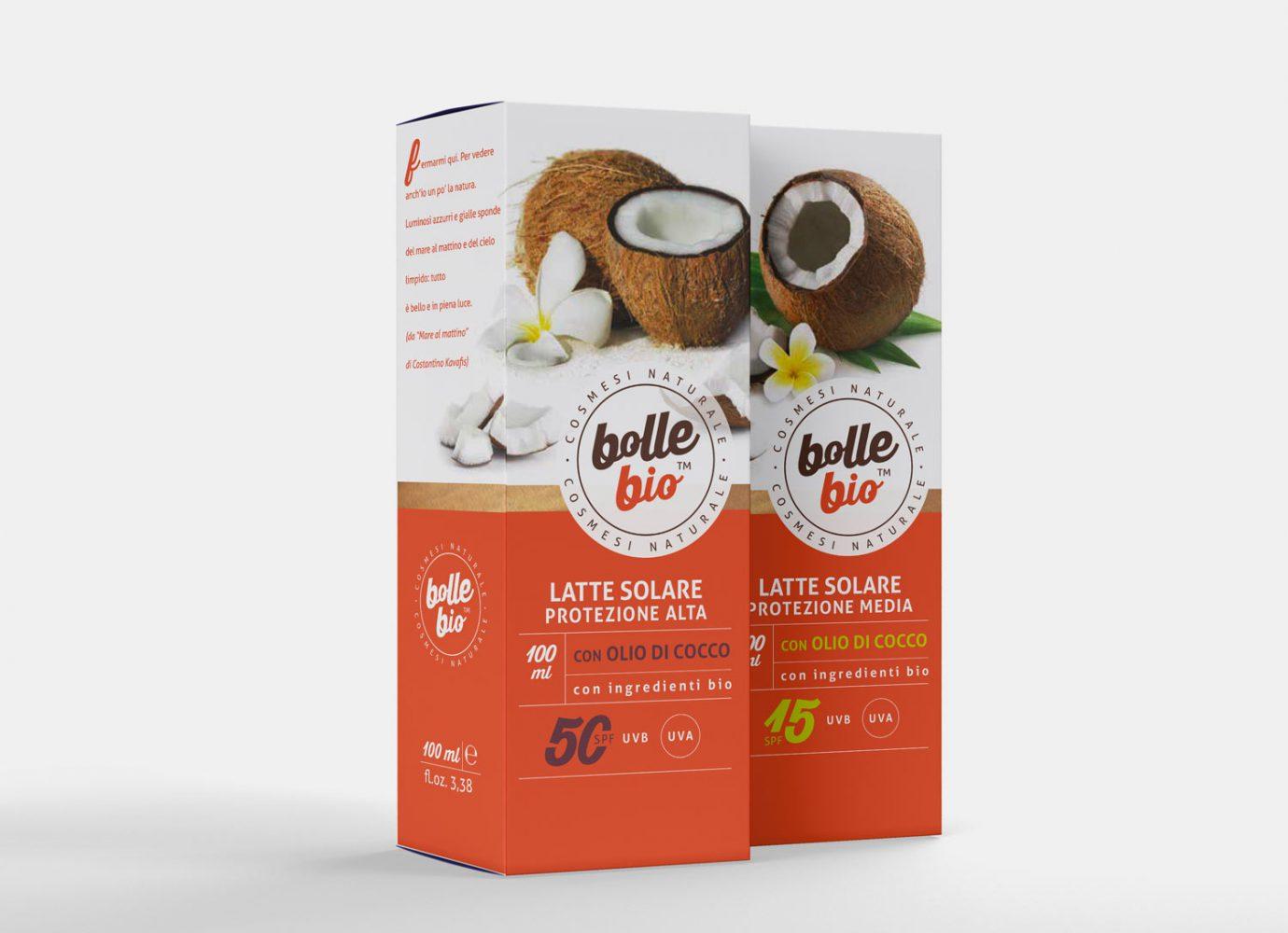 Packaging design di astucci latti solari di cosmesi naturale per millennial realizzato da WillBe