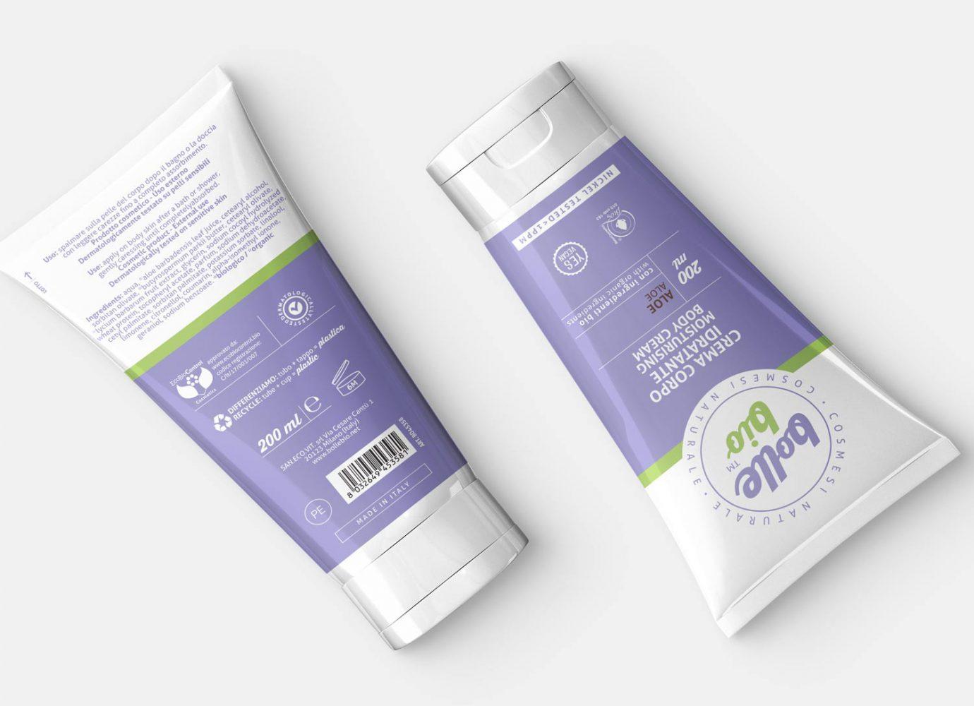 Packaging design di tubo crema corpo fronte e retro di cosmesi naturale per millennial realizzato da WillBe