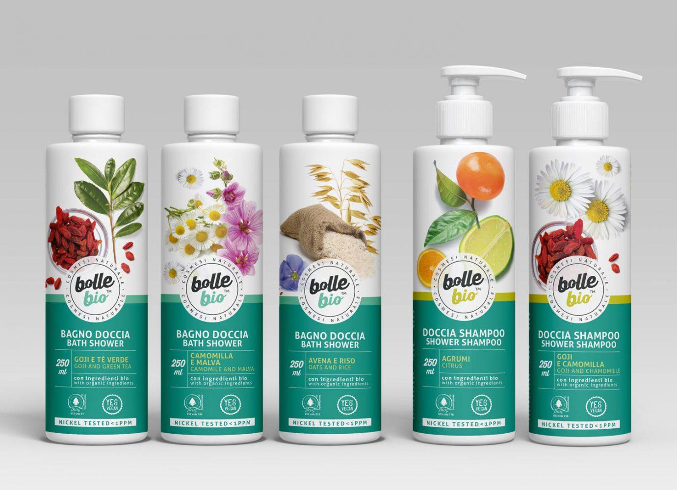 Packaging design di prodotti cosmetici naturali per millennial per la detergenza del corpo realizzato da WillBe