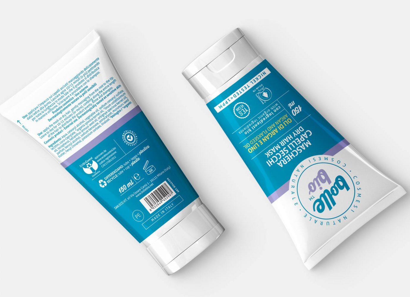 Packaging design di tubo maschera capelli fronte e retro di cosmesi naturale per millennial realizzato da WillBe