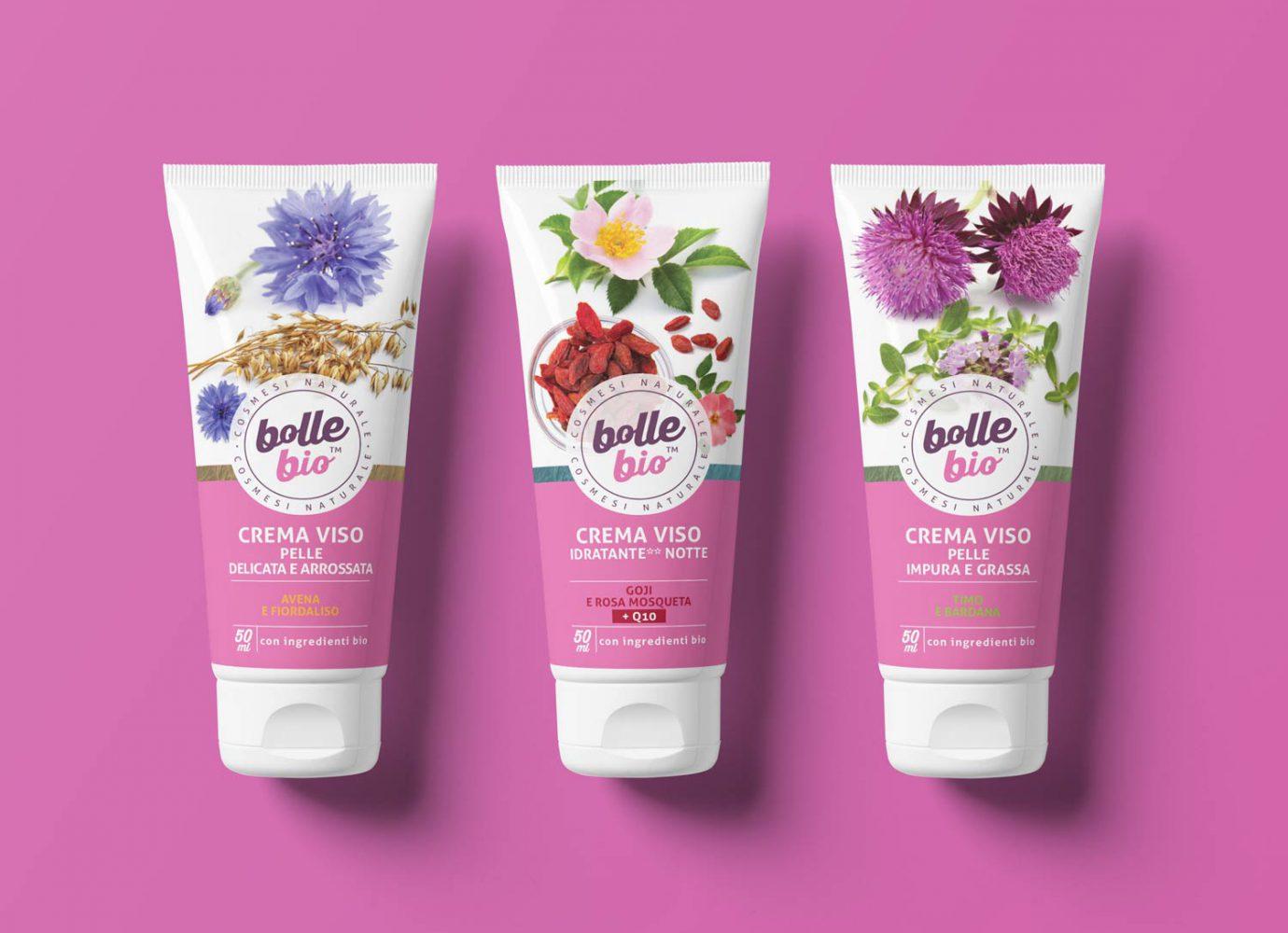 Packaging design di tubi creme viso di cosmesi naturale per millennial realizzato da WillBe