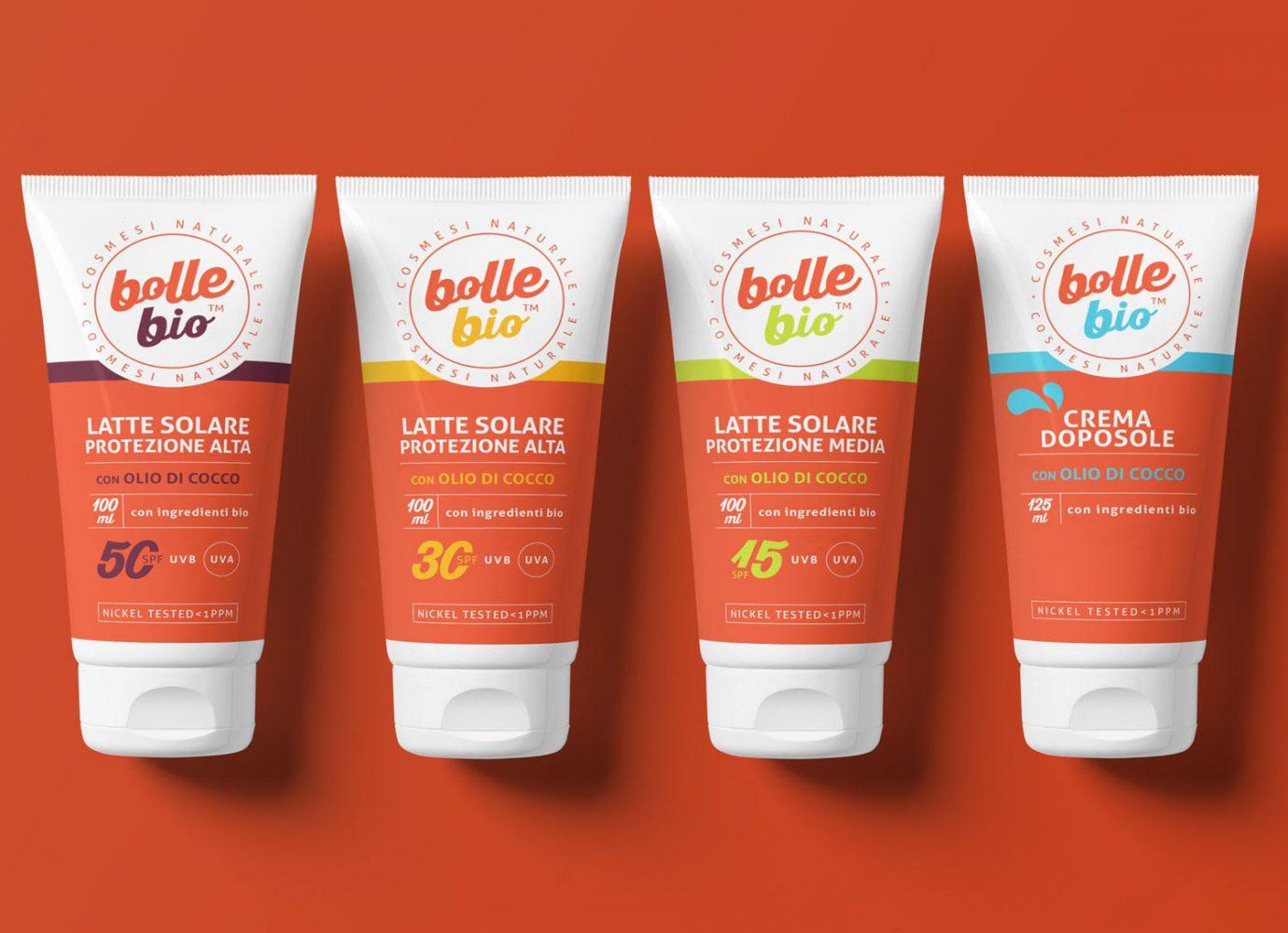 Packaging design di tubo latti solari e crema doposole di cosmesi naturale per millennial realizzato da WillBe