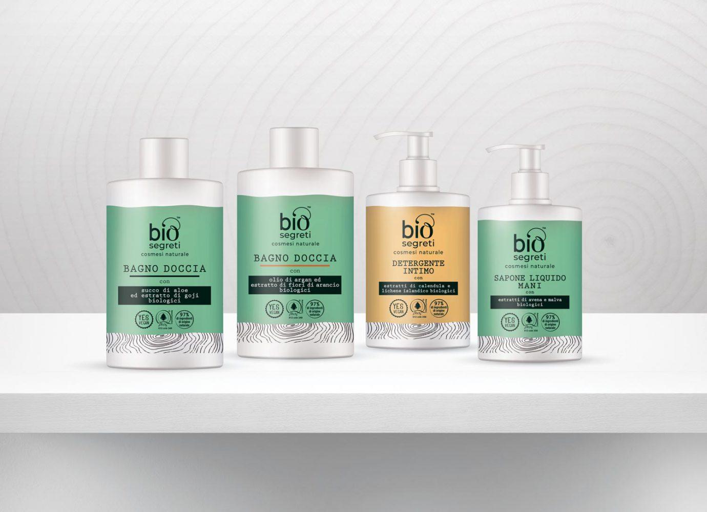 Packaging design di prodotti cosmetici naturali per la detergenza del corpo destinati alla GDO realizzato da WillBe