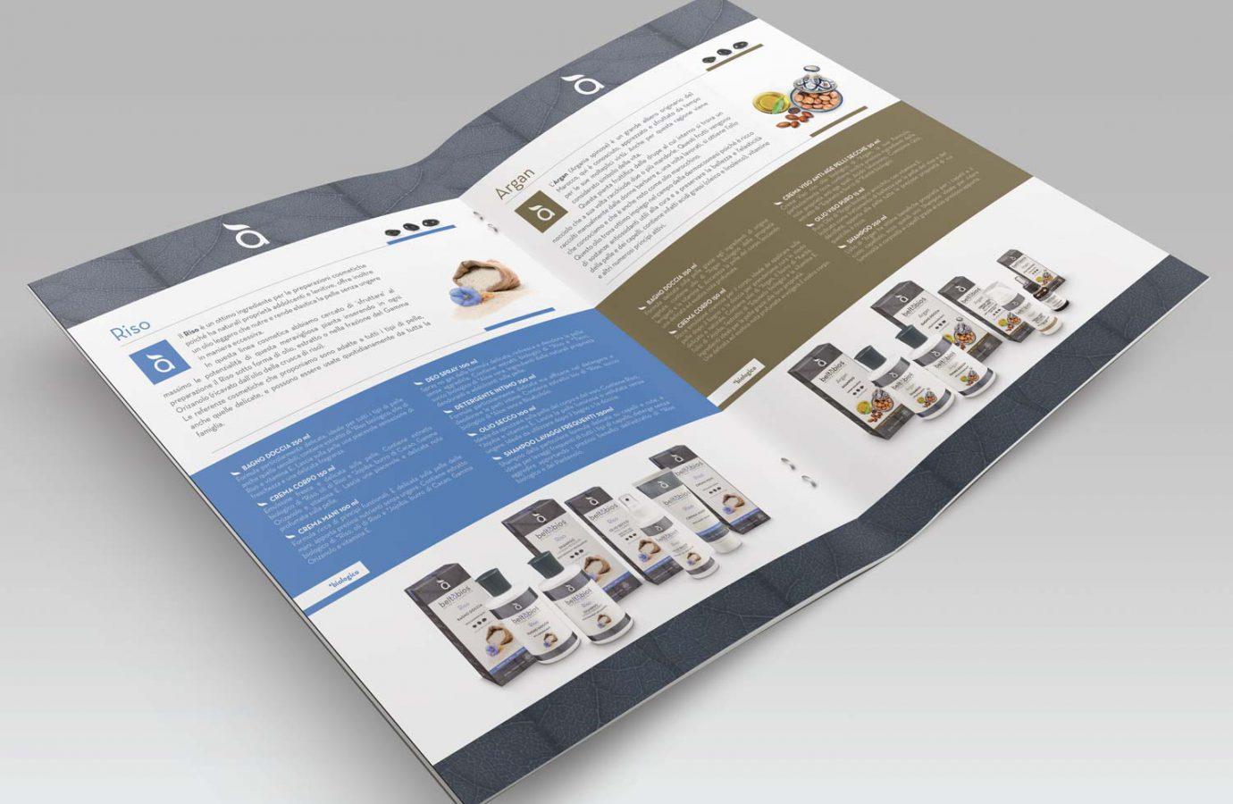 Interno folder per brand di prodotti cosmetici naturali realizzato da WillBe
