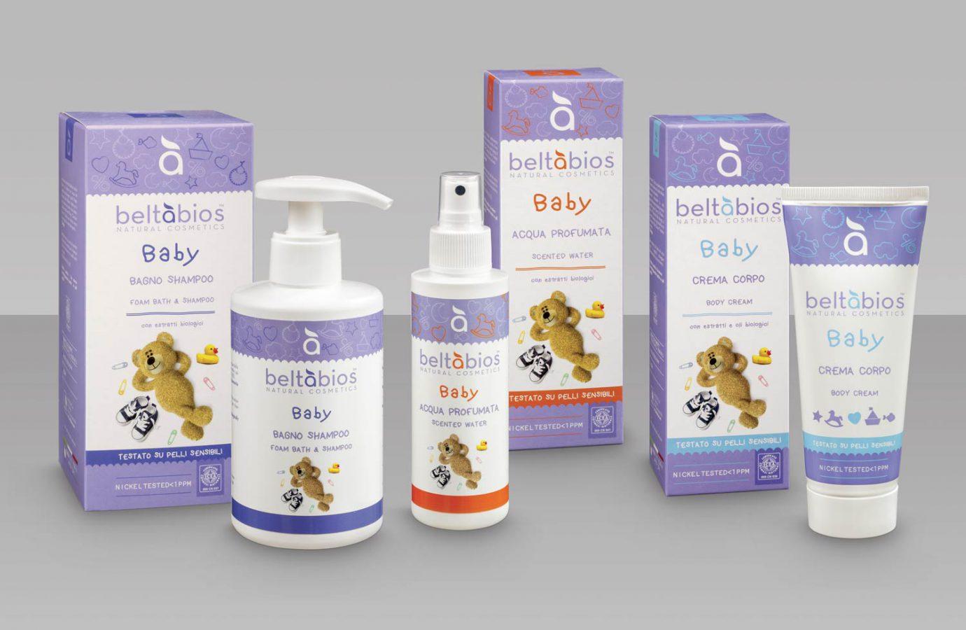 Packaging design linea di prodotti cosmetici naturali per bambini realizzato da WillBe