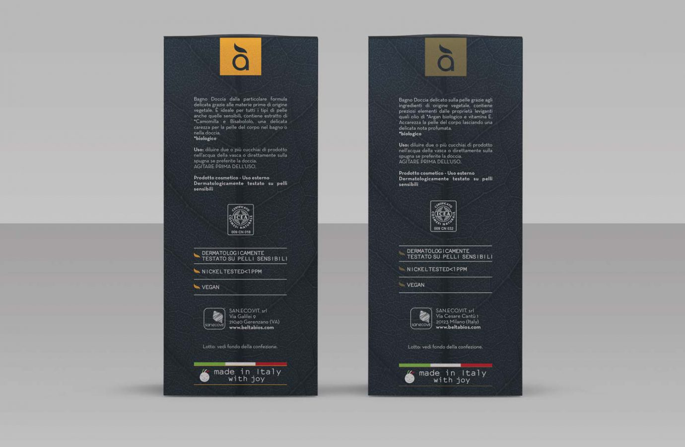 Retro del packaging design di prodotti cosmetici naturali realizzato da WillBe