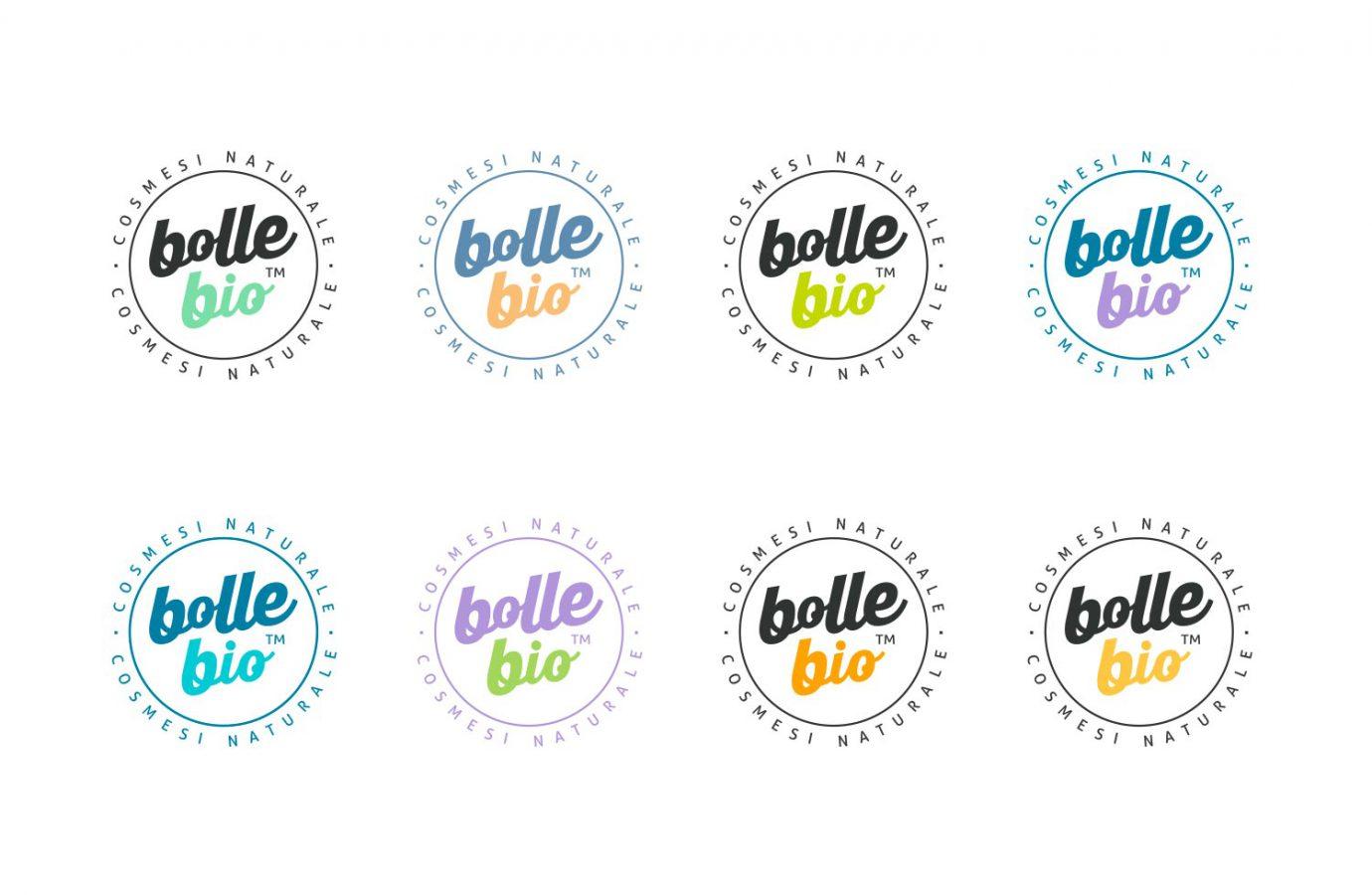 Varianti di logotipo della linea di cosmesi naturale per millennial Bollebio progettati da WillBe