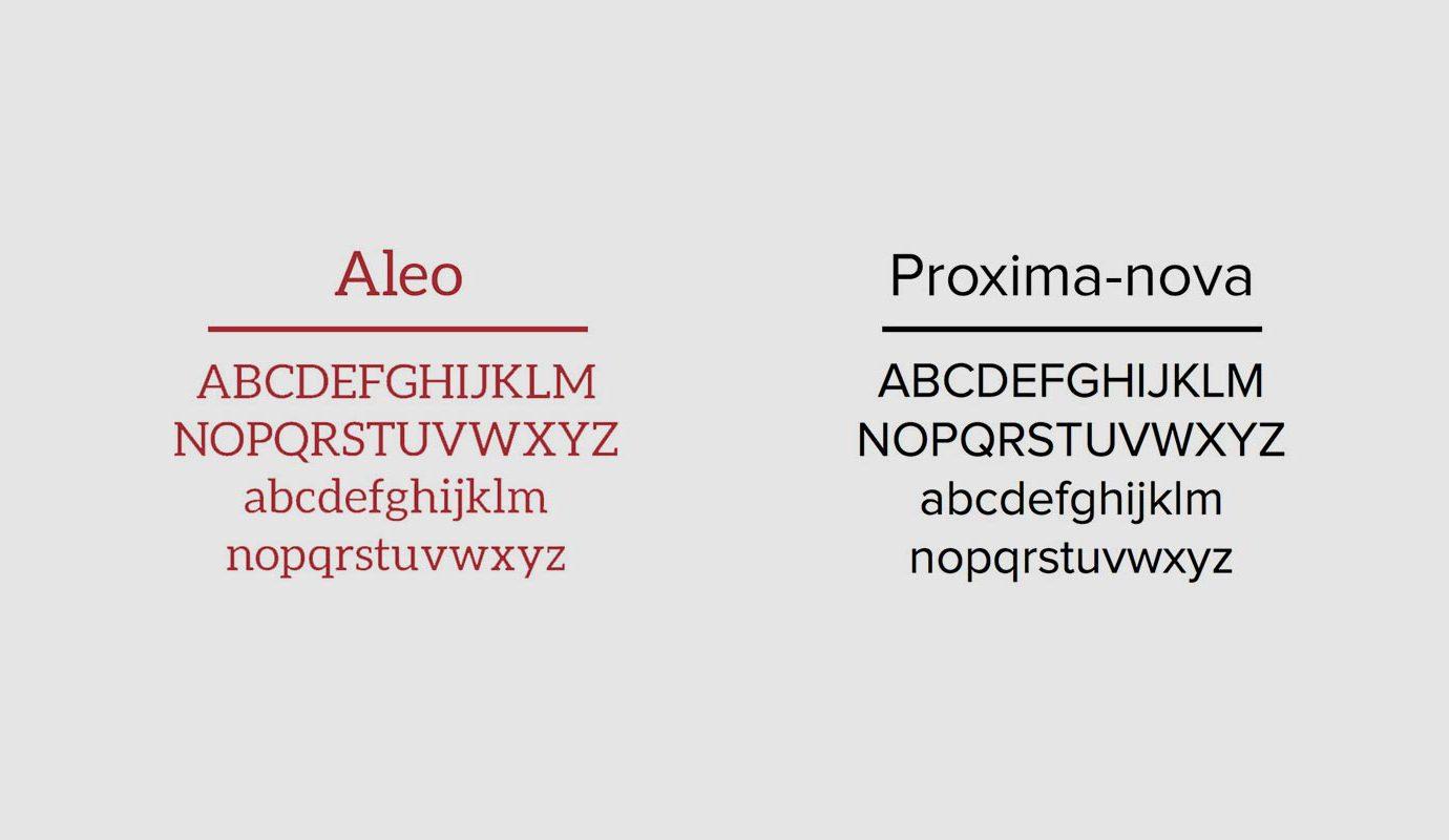 Combinazione di font per la visual identity su misura per il settore turistico realizzato da WillBe