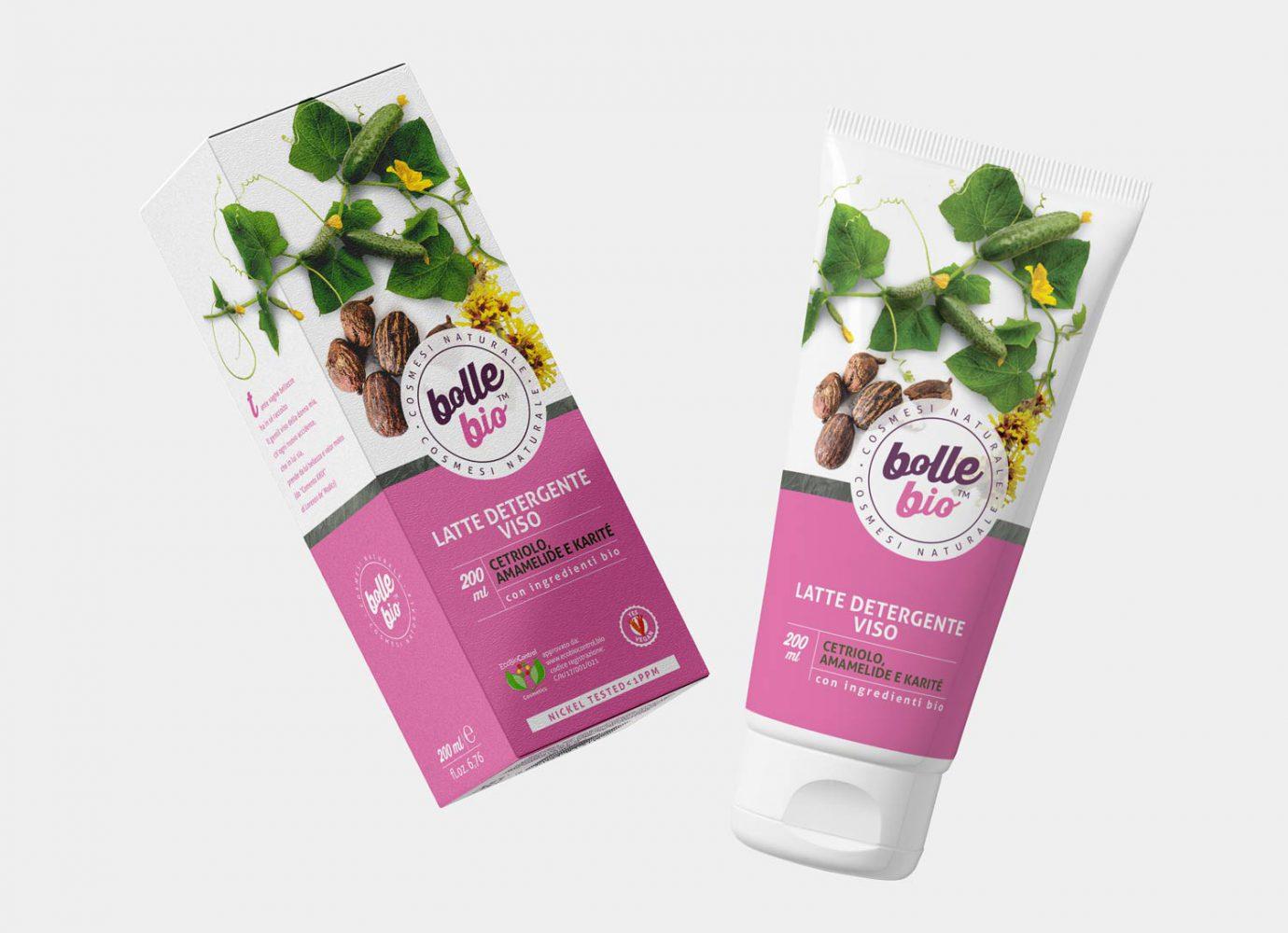 Packaging design di tubo e scatola latte detergente viso cosmesi naturale per millennial realizzato da WillBe