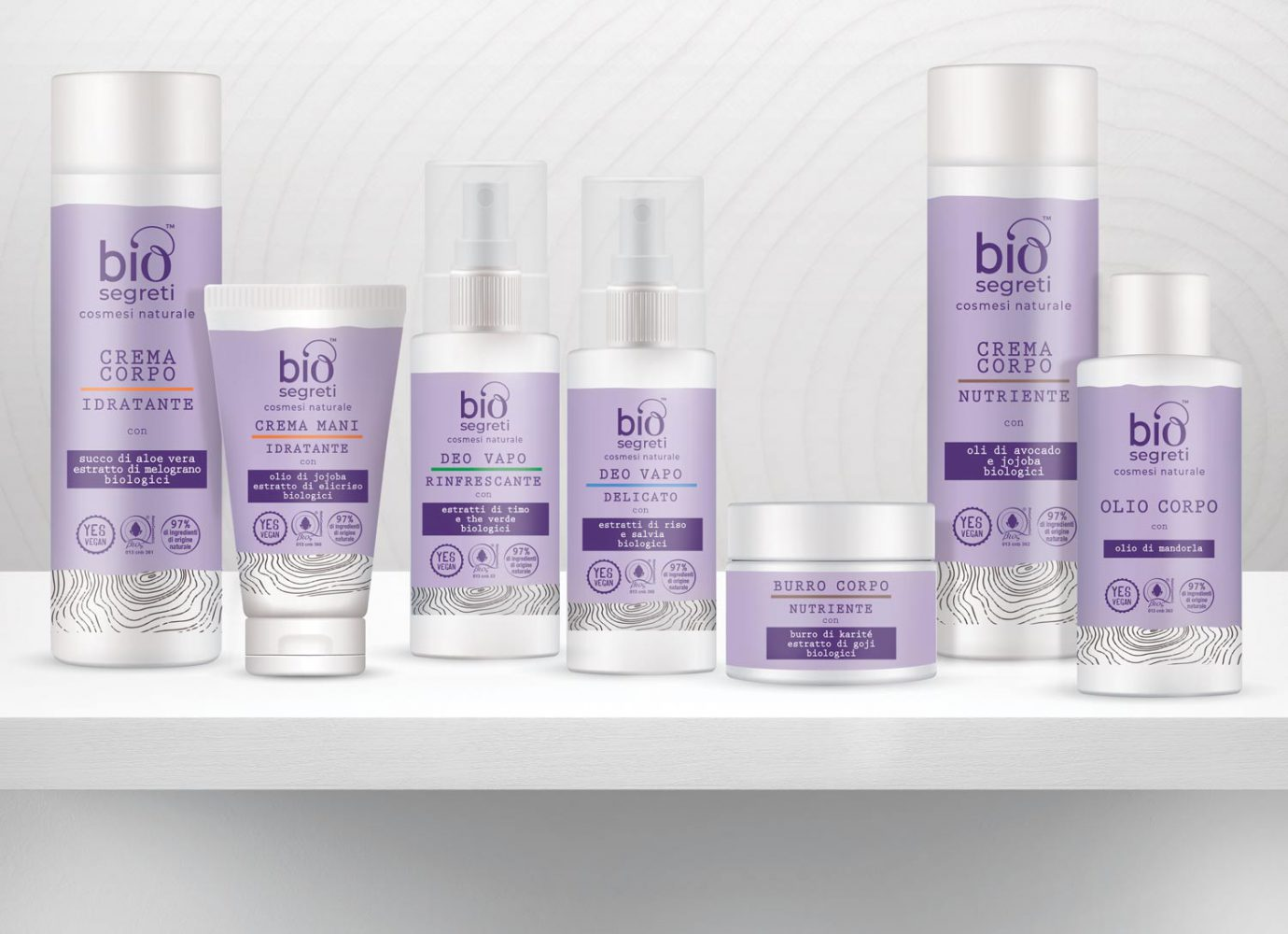 Packaging design di prodotti cosmetici naturali per la cura del corpo destinati alla GDO realizzato da WillBe