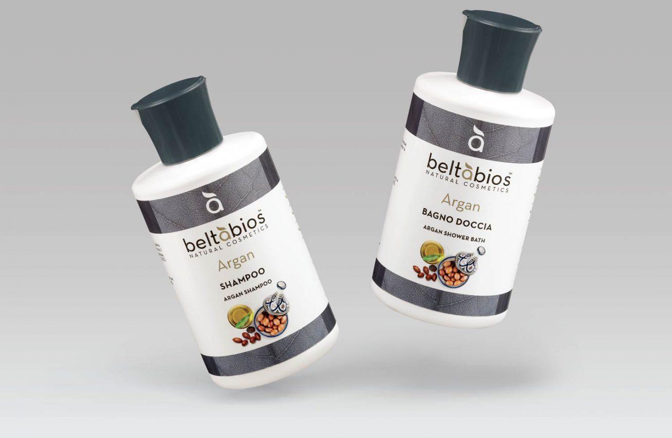 Packaging design di prodotti cosmetici naturali shampoo e bagno doccia Argan realizzato da WillBe