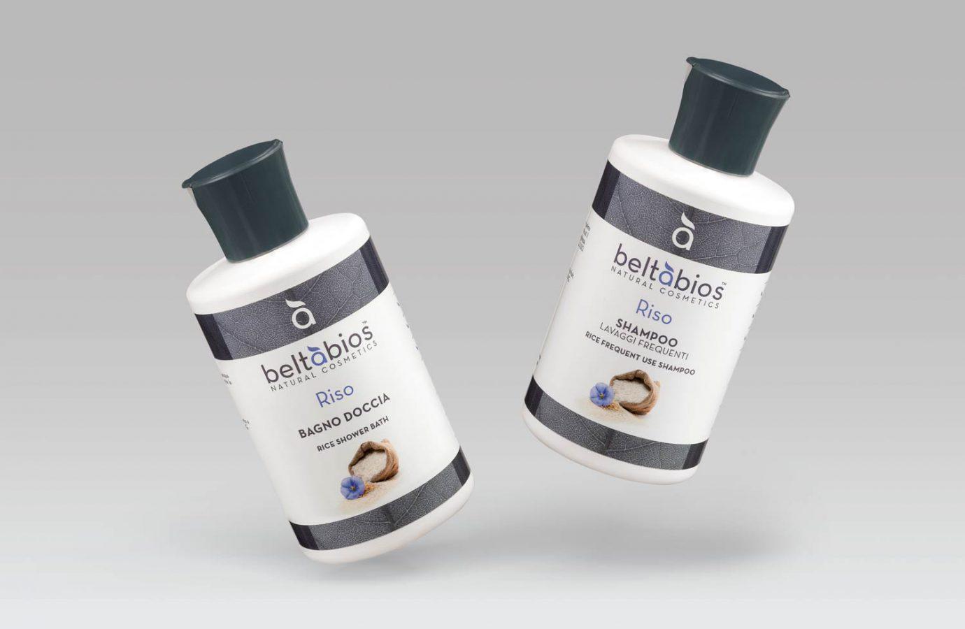 Packaging design di prodotti cosmetici naturali shampoo e bagno doccia realizzato da WillBe