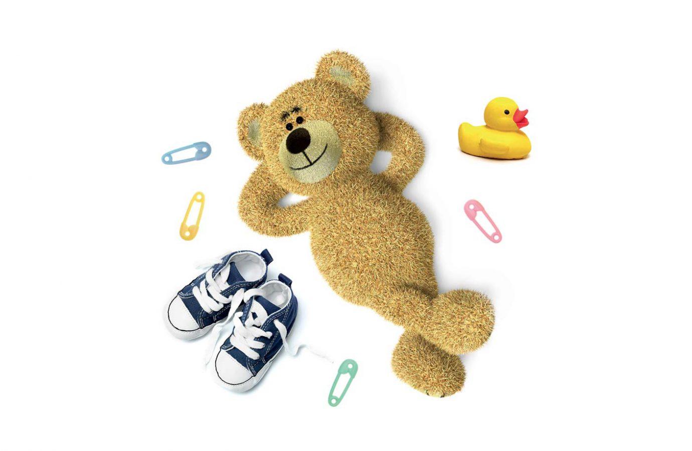 Composizione visual di un orsacchiotto usato nel packaging design di prodotti cosmetici naturali per bambini realizzato da WillBe