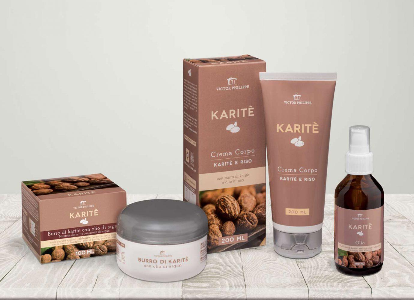 brand identity e packaging design linee bio Karitè