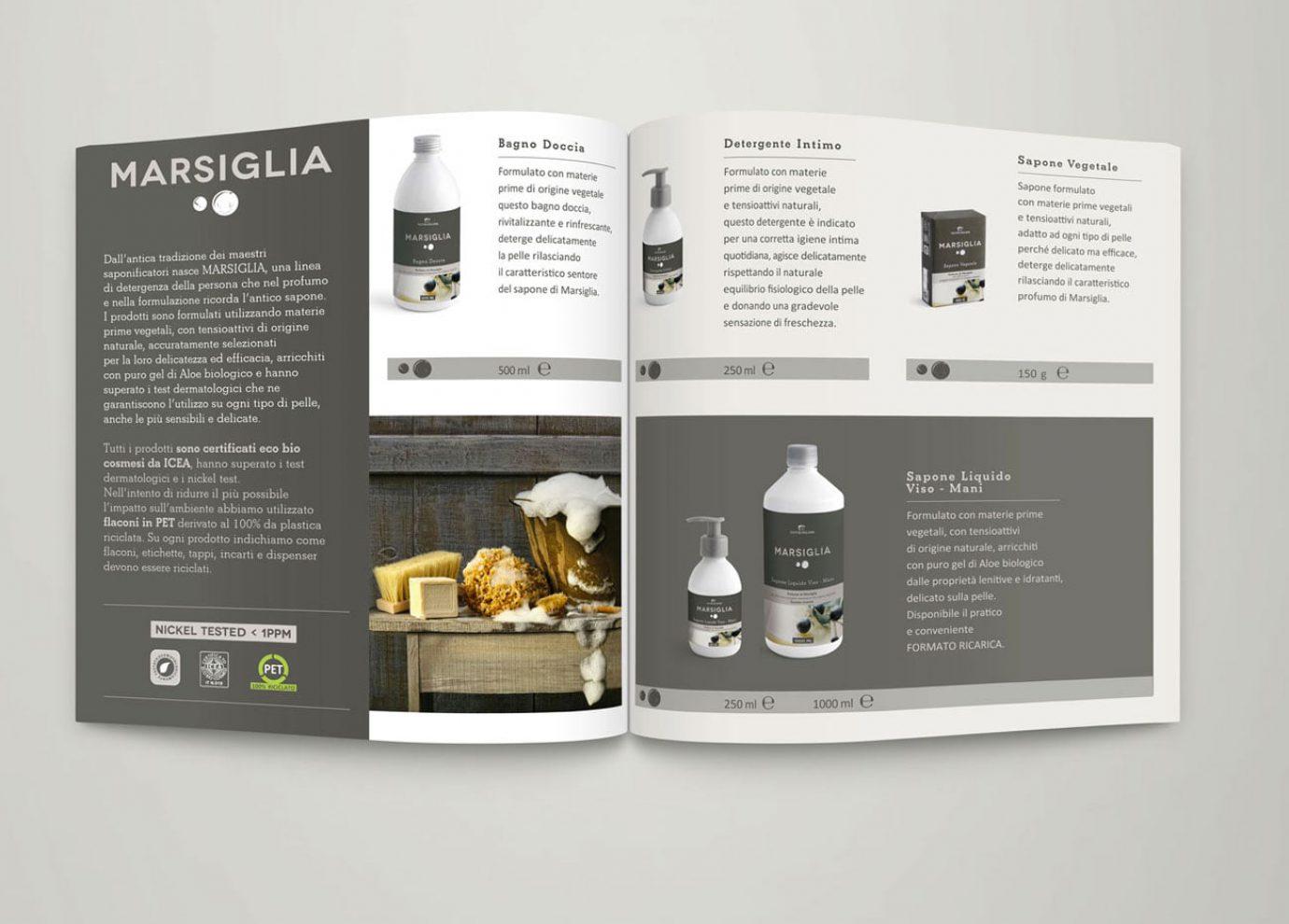 brand identity e packaging design linee bio Catalogo Marsiglia