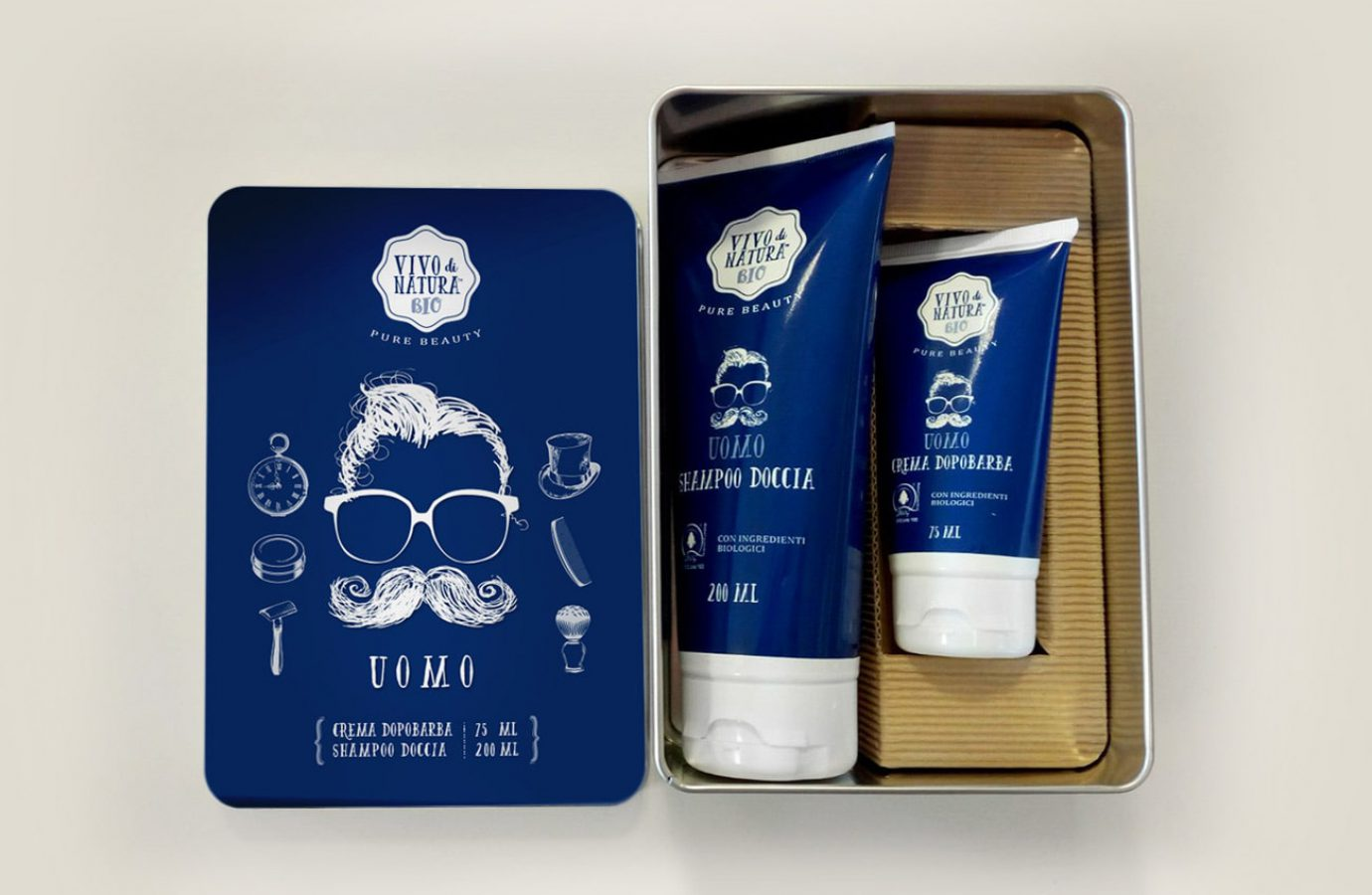 WillBe packaging design cosmesi idee regalo Vivo di Natura uomo aperta